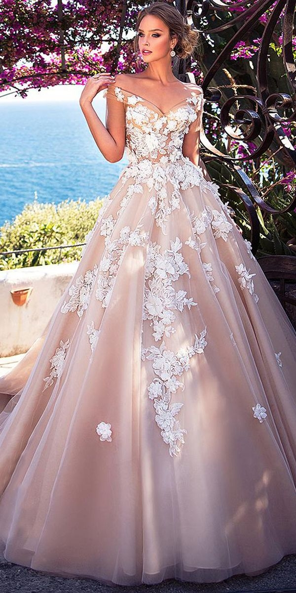 stunning tulle off the shoulder neckline see through bodice Cute Lace Bodice Wedding Dresses