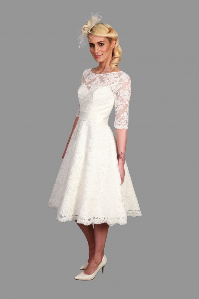 Stylish 25 of the most beautiful tea length short wedding dresses Beautiful Short Lace Wedding Dresses With Sleeves