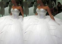 2020 2020 bling bling big poofy wedding dresses custom made plus size tulle ball gown beads crystal vestidos de novia puffy ballgown dress unique Big Poofy Wedding Dress