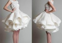 2015 new short wedding dresses ivory satin feather ruffles Short Poofy Wedding Dresses
