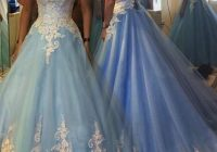 2020 blue cinderella wedding dresses princess wedding dresses appliques bridal gownsball gown prom dresses sweetheart blue prom dress with white Cinderellas Wedding Dress
