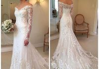 2018 gorgeous lace long sleeve mermaid wedding dresses dubai african style petite off shoulder button back train bridal gowns sexy lace wedding dress Wedding Dresses For Petite Brides