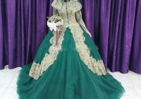 2020 muslim green and gold lace ball gown islam wedding dresses arabic high collar long sleeves hijab veil plus size bridal gowns canada 2020 from Islamic Wedding Dresses With Hijab