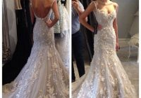 2020 spaghetti straps lace steven khalil wedding dresses 3d flowers mermaid sexy beaded appliques backless court train bridal gowns custom sweetheart Steven Khalil Wedding Dress s