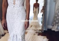 2020 berta pallas couture mermaid wedding dresses deep v neck sexy back unique lace sweep train summer spring bridal gown custom made real wedding Pallas Wedding Dresses