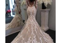 2020 new illusion long sleeves lace mermaid wedding dress tulle appliques court train elegant wedding bridal gowns with buttons Wedding Dresses Aliexpress