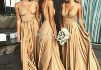 2020 sexy long gold bridesmaid dresses deep v neck empire Jcpenney Bridesmaid Wedding Dresses