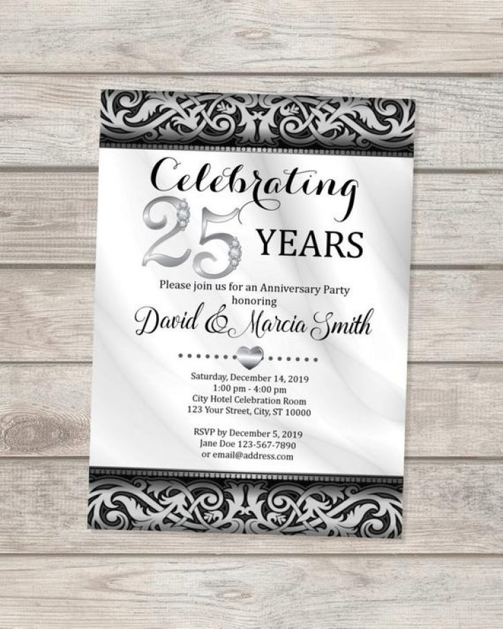 Permalink to 25th Silver Wedding Anniversary Invitations Design