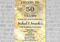 50th golden wedding anniversary invitation gold sparkle 50th Golden Wedding Anniversary Invitations