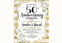 50th wedding anniversary invitation gold white stripes white roses digital printable invitation customized 50th Wedding Anniversary Photo Invitations