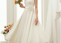 a line bateau neck tea length chiffon made to measure Lightinthebox Wedding Dress