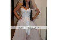 a line sweetheart neckline floor length tulle made to Lightinthebox Wedding Dress