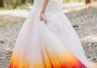a woodsy summer wedding inspired colors of the sunset Dip Dye Wedding Dress