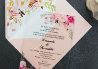 acrylic pink floral wedding invitation simplicity clear wedding invitations pwia005 pro wedding invites Invitations Weddings