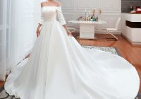 affordable modest simple ivory satin wedding dresses 2021 a line princess off the shoulder 34 sleeve backless cathedral train ruffle Inexpensive Modest Wedding Dresses