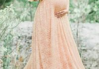 apricot floral lace bandeau pleated off shoulder floor length maternity maxi dress Maternity Maxi Dresses For Weddings