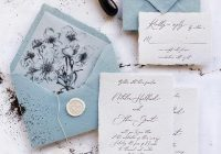 ba blue handmade paper wedding invitation deer pearl flowers Wedding Invites Handmade