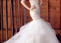 beaded and embroidered fit and flare tulle wedding dress Lazaro Mermaid Wedding Dresses