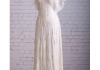 beautiful flutter sleeves v neck tea length chiffon wedding dresses with embroidered lace Flutter Sleeve Wedding Dress