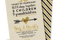 Beautiful linen and golden 50th wedding anniversary invitation Golden Wedding Anniversary Invitation