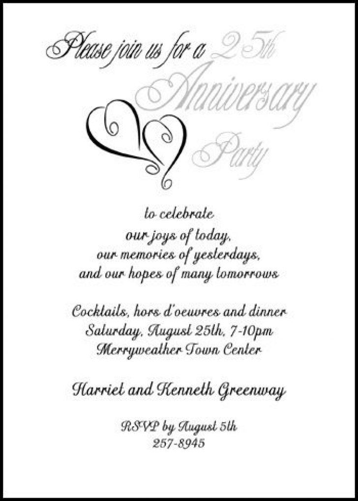 Permalink to 25th Wedding Anniversary Invitation Wording Examples Gallery