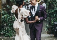 Best secondhand wedding dress and vintage tuxedo jacket for a fun Secondhand Wedding Dress Choices