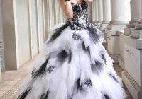 black and white vintage ball gown gothic wedding dresses 2019 sweetheart lace up ruffles skirt colorful wedding gowns with color Black And White Gothic Wedding Dresses