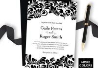 black damask wedding invitation printable wedding invitation set luxury black tie wedding personalized template reply and details card Cheap Damask Wedding Invitations