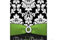 black white damask lime green wedding invitations zazzle Lime Green And Black Wedding Invitations