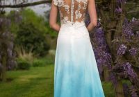 blue dip dye wedding dress lace top with illusion back lots Dip Dye Wedding Dress