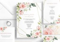 blush floral wedding invitation template printable geometric wedding invitations pink and gold editable invitations instant download Wedding Invitation Templets