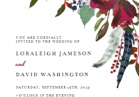 boho bordo flowers wedding invitation template greetings Design Wedding Invitation Online