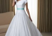 cheap white wedding gowns with blue ribbon for 2021 fashions Inexpensive Modest Wedding Dresses