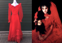 check out this red wedding dress definitely giving us lydia Lydia Deetz Red Wedding Dress