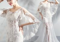 chic beautiful white beach wedding dresses 2020 trumpet mermaid scoop neck see through long sleeve backless appliques lace sweep train Beach Dresses For A Wedding