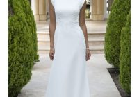 chiffon long modest lds wedding dress with short sleeves lace appliques embellished waist buttons over zipper back simple bridal gowns fit and flare Lds Wedding Dresses