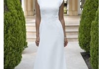 chiffon long modest lds wedding dress with short sleeves lace appliques embellished waist buttons over zipper back simple bridal gowns from misszhu Lds Modest Wedding Dresses