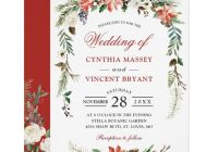 christmas poinsettia floral arch winter wedding invitation Christmas Wedding Invitation Wording