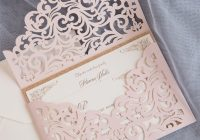 cordially inviting blush shimmer laser cut sleeve with Lazer Cut Wedding Invitations
