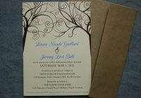cornflower blue tan brown swirl trees rustic wedding Brown And Blue Wedding Invitations