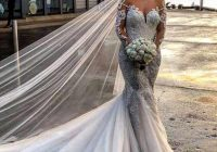 country stylish mermaid wedding dresses 2020 sheer jewel neck long sleeves bridal gowns glamorous lace appliques beach garden wedding gowns wedding Dhgate Wedding Dress