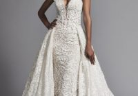 couture and sexy lace sheath wedding dress with dramatic overskirt Pnina Wedding Dress