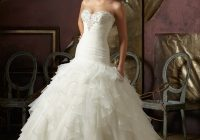 crystal beaded ruffled organza wedding dress morilee Mori Lee Blu Wedding Dresses