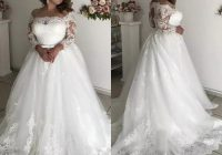 discount 2020 modest plus size wedding dresses sheer neck 34 long sleeve appliques illusion hollow back garden country bridal gowns robe de marie Plus Size Non Traditional Wedding Dresses