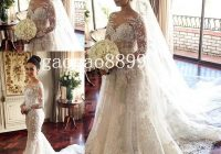 discount 2020 steven khalil mermaid wedding dresses bridal gowns with detachable skirt stunning detail 3d floral sheer neck illusion long sleeve best Steven Khalil Wedding Dress s