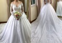 discount 2021 vintage scoop a line long sleeve wedding dresses chapel train applique beaded sequin plus size bridal wedding gowns muslim wedding Plus Size Non Traditional Wedding Dresses