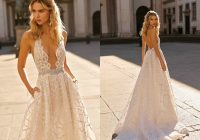 discount 2021 berta wedding dresses deep v neck backless lace appliques bridal gowns boho country wedding dress vestidos de novia short wedding gowns Berta Wedding Dress