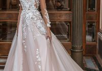 discount blush long sleeved princes wedding dresses 2020 crystal design bridal v neck embellished lace embroidered romantic a line wedding gowns aline Princes Wedding Dresses