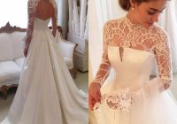 discount gorgeous long sleeve wedding dresses with sheer neck jewel sexy open back bridal gowns satin vintage wedding dress lace top cheap affordable Dhgate.Com Wedding Dresses