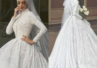 discount high quality a line white lace bridal gowns long sleeve muslim wedding dresses with hijab embroidery arabic wedding dress brides dress latest Hijabi Wedding Dress